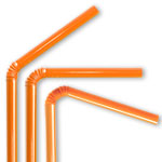 Orange Flex Straws