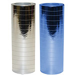 Metallic Silver and Blue Paper Streamers - 18 coils