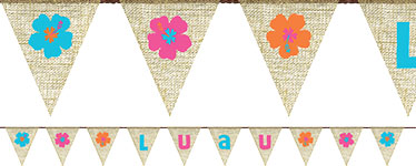 Burlap Luau Bunting - 2.7m - Hawaiian Decoration