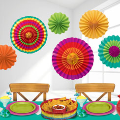 Fiesta Paper Fans - 40cm Mexican Decoration