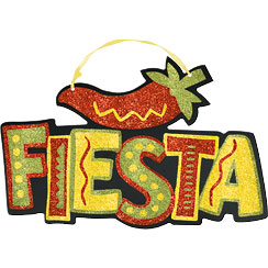 Glitter Fiesta Sign - 29cm Mexican Decoration