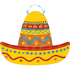 Glitter Sombrero Sign - 30cm Mexican Decoration