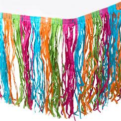 Multicoloured Grass Table Skirt - 2.7m Hawaiian Decoration
