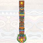 Tiki Island Jointed Card Cutout - 1.8m Hawaiian Decoration