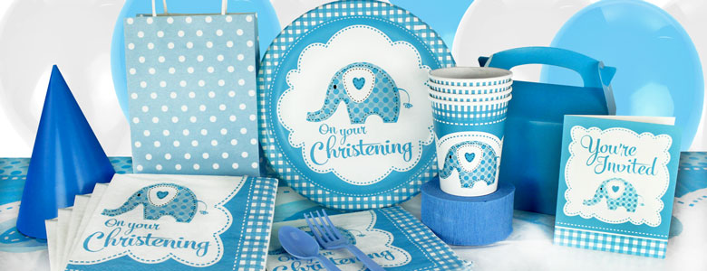 Sweet Baby Elephant Blue Christening Party Supplies Woodies Party