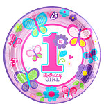 Sweet Girl 1st Birthday Plates - 23cm Paper Party Plates