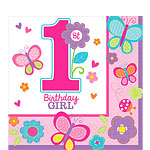 Sweet Girl 1st Birthday Napkins - 2ply Paper