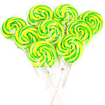 Green & Yellow Swirl Lollipops - Apple Flavour
