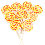 Orange & Yellow Swirl Lollipops - Orange Flavour