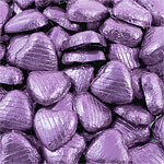 Lilac Foil Chocolate Hearts - Bulk Pack