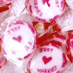 Pink 'Just Married' Rock Sweets - 300g