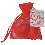 Chocolate Hearts - Red & Silver Foiled in Organza Bag