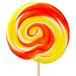 Orange & Yellow Swirl Lollipops - Orange 10cm