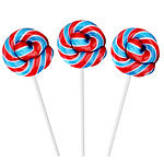 Red, White & Blue Mini Swirl Lollipop - Fruit Flavour 5cm