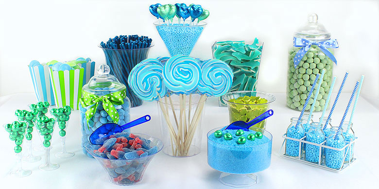 Green & Blue Candy Buffet