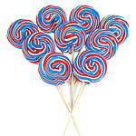 Red, White & Blue Swirl Lollipops - Mint Flavour