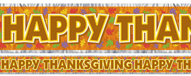 Thanksgiving Metallic Fringed Banner 5ft