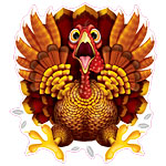Thanksgiving Crazy Turkey Window Cling