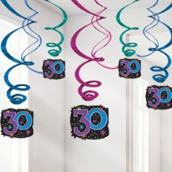 30th Birthday Hanging Swirls - 60cm Party Decorations