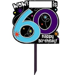 60th Birthday Lawn Sign - 38cm Party Decoration