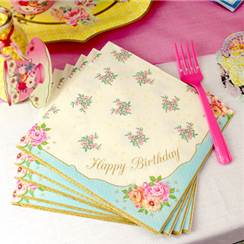 Happy Birthday Vintage Paper Luncheon Napkins - 33cm