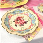 Vintage Tea Party Paper Plates - 17cm