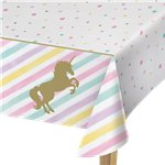 Unicorn Sparkle Plastic Tablecover - 1.3m x 2.6m