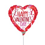 Valentines Streamers & Confetti Balloon on a Stick - 9'' Foil