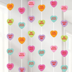 Valentines Candy Hearts Hanging Strings Decoration - 2.1m