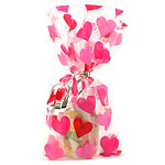 Heart Cellophane Party Bags - 28cm