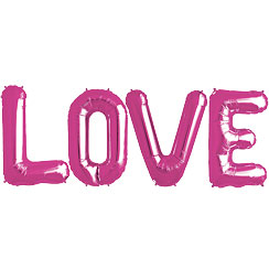 'LOVE' Pink Foil Balloon Kit - 34""