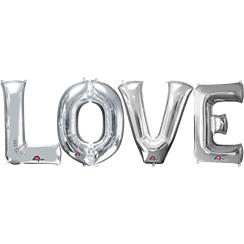 'LOVE' Silver Foil Balloon Kit - 34""