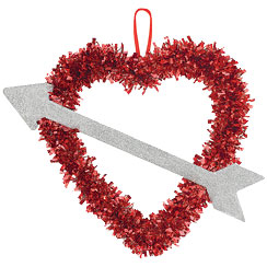 Valentines Tinsel Heart & Arrow Decoration - 30cm