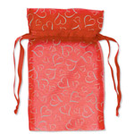 Organza Bags Red with Silver Hearts