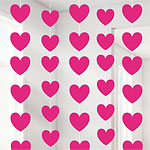 Pink Heart String Decoration - 2.1m Valentines Decorations