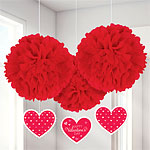 Tissue Pom Poms with Danglers - 40cm Valentines Decorations