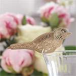 Vintage Lace Bird Place Cards for Glasses - Gold
