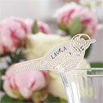 Vintage Lace Bird Place Cards for Glasses - Ivory