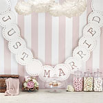 Vintage Lace Ivory 'Just Married' Wedding Bunting - 3.5m