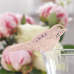 Vintage Lace Bird Place Cards for Glasses - Pink