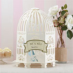 Vintage Lace Birdcage Wedding Card Holder - Ivory
