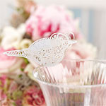 Vintage Lace Bird Place Cards for Glasses - White