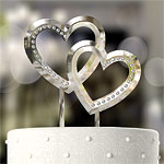 Double Heart Wedding Cake Topper