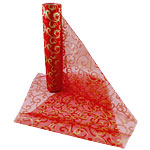 Gold & Red Swirl Organza Sheer Roll - 10m