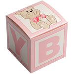 Building Block Baby Favour Boxes - Pink