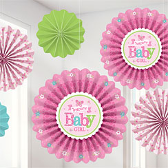 Welcome Baby Girl Fan Decorations