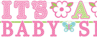 Welcome Baby Girl Letter Banner