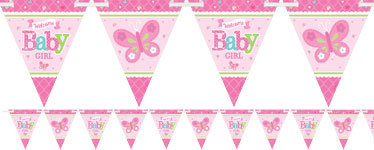 Welcome Baby Girl Paper Bunting - 4.5m