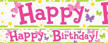 Happy Birthday Paper Banners 1 design 1m each