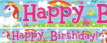 Unicorn Birthday Paper Banners 1 design 1m each